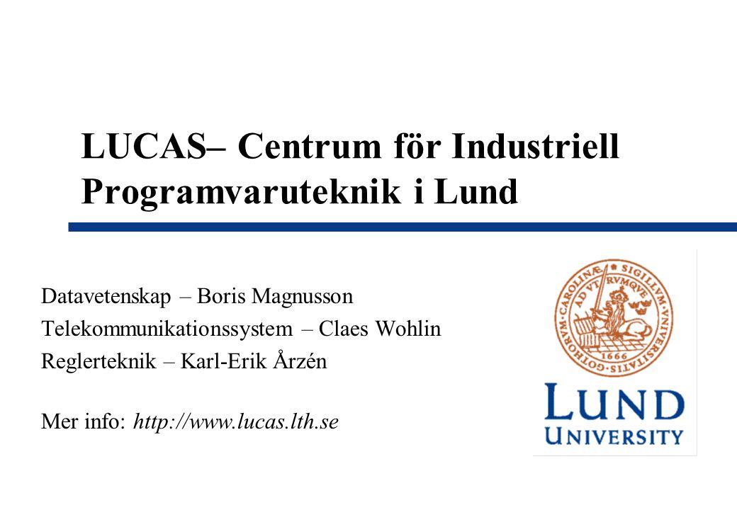 LUCAS– Centrum för Industriell Programvaruteknik i Lund Datavetenskap – Boris Magnusson Telekommunikationssystem – Claes Wohlin Reglerteknik – Karl-Erik Årzén Mer info: http://www.lucas.lth.se