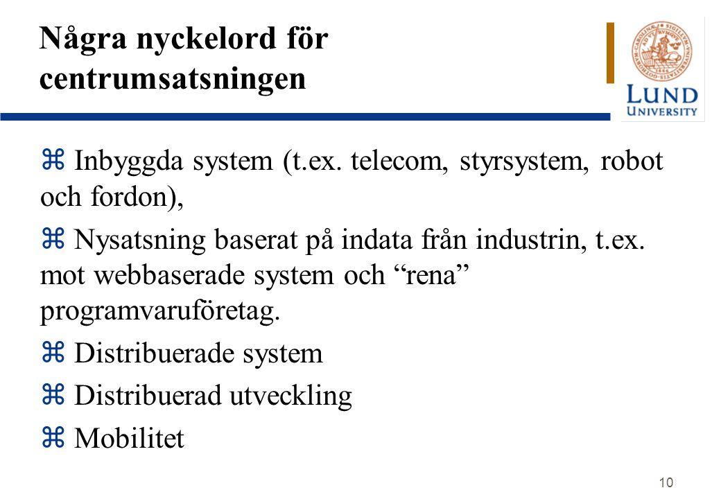 10 Några nyckelord för centrumsatsningen  Inbyggda system (t.ex. telecom, styrsystem, robot och fordon), z Nysatsning baserat på indata från industri