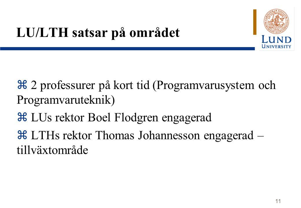 11 LU/LTH satsar på området z 2 professurer på kort tid (Programvarusystem och Programvaruteknik) z LUs rektor Boel Flodgren engagerad z LTHs rektor T