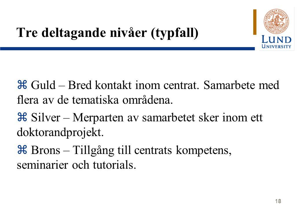 18 Tre deltagande nivåer (typfall) z Guld – Bred kontakt inom centrat. Samarbete med flera av de tematiska områdena. z Silver – Merparten av samarbete