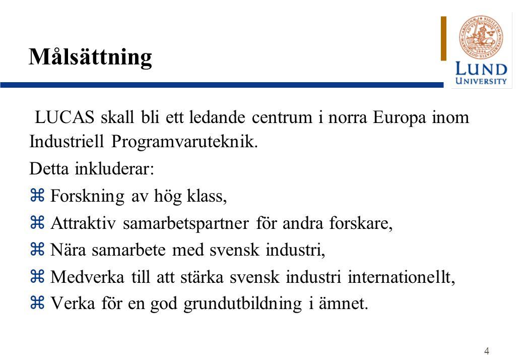 4 Målsättning LUCAS skall bli ett ledande centrum i norra Europa inom Industriell Programvaruteknik. Detta inkluderar: z Forskning av hög klass, z Att