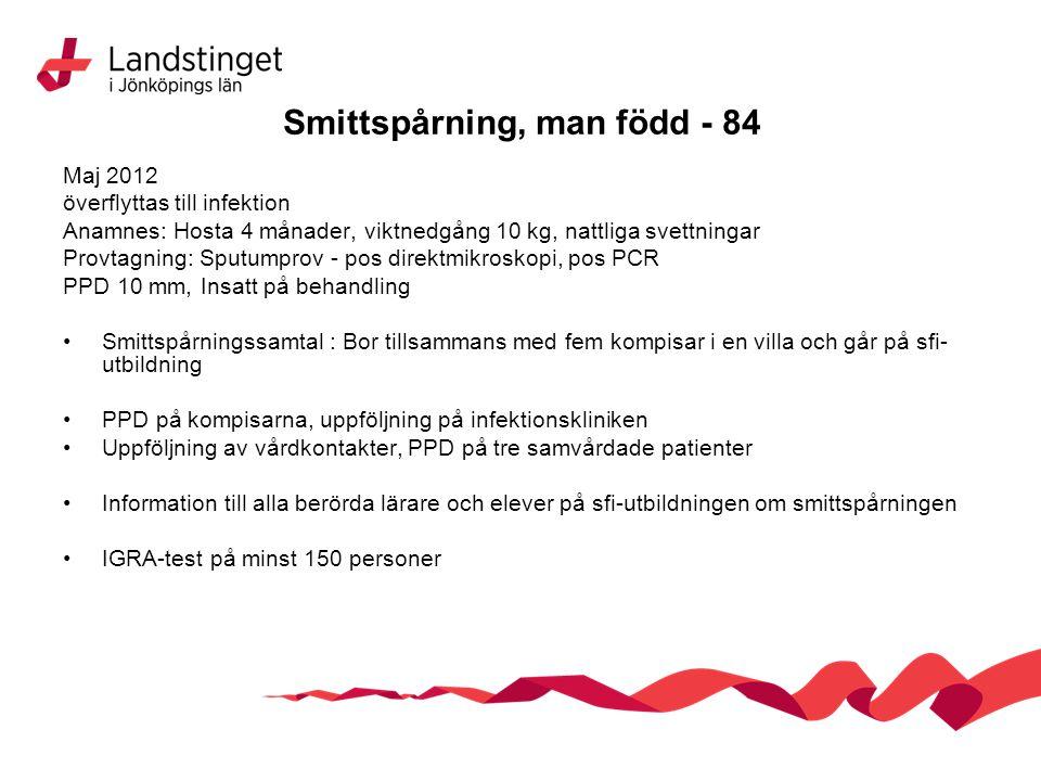 Smittspårning, man född - 84 Maj 2012 överflyttas till infektion Anamnes: Hosta 4 månader, viktnedgång 10 kg, nattliga svettningar Provtagning: Sputum