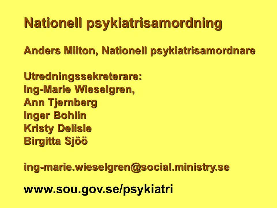 Nationell psykiatrisamordning Anders Milton, Nationell psykiatrisamordnare Utredningssekreterare: Ing-Marie Wieselgren, Ann Tjernberg Inger Bohlin Kri