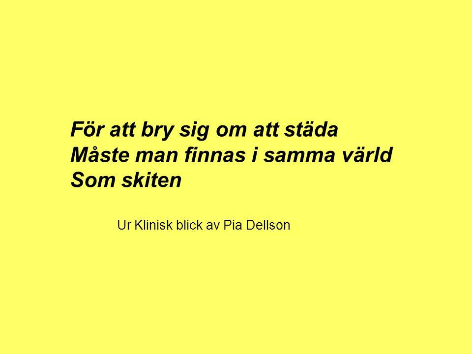 För att bry sig om att städa Måste man finnas i samma värld Som skiten Ur Klinisk blick av Pia Dellson