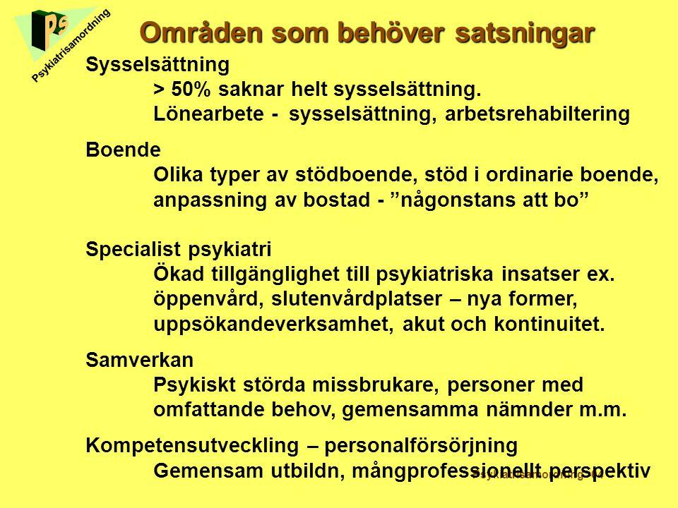 Områden som behöver satsningar Psykiatrisamordning -04 Psykiatrisamordning Sysselsättning > 50% saknar helt sysselsättning. Lönearbete -sysselsättning