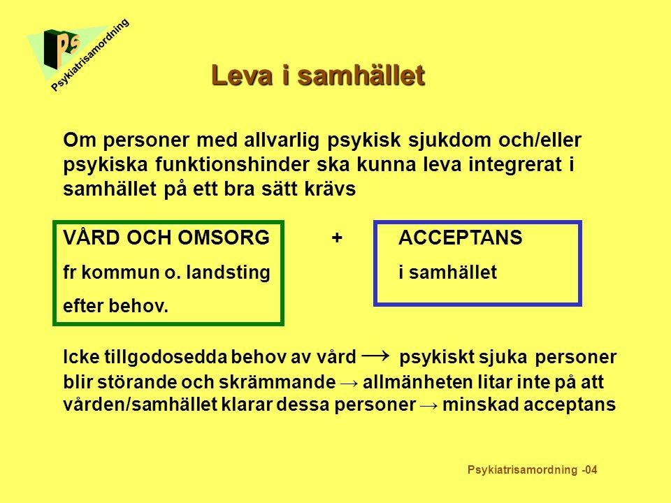 Leva i samhället Psykiatrisamordning -04 Psykiatrisamordning Om personer med allvarlig psykisk sjukdom och/eller psykiska funktionshinder ska kunna le