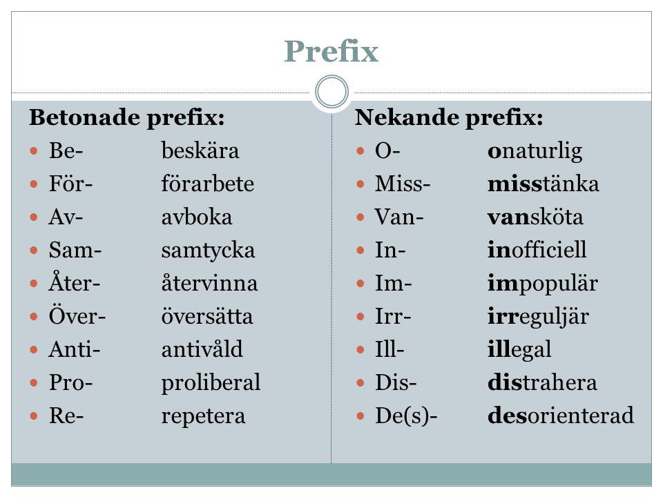 Prefix Betonade prefix: Be-beskära För-förarbete Av-avboka Sam-samtycka Åter-återvinna Över-översätta Anti-antivåld Pro-proliberal Re-repetera Nekande