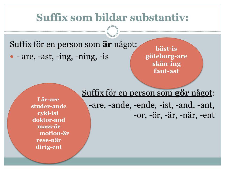 Suffix som bildar substantiv: Suffix för en person som är något: - are, -ast, -ing, -ning, -is Suffix för en person som gör något: -are, -ande, -ende,