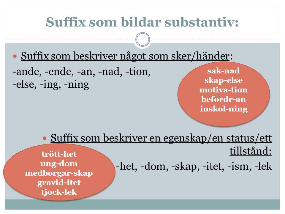 Suffix som bildar substantiv: Suffix som beskriver något som sker/händer: -ande, -ende, -an, -nad, -tion, -else, -ing, -ning Suffix som beskriver en e