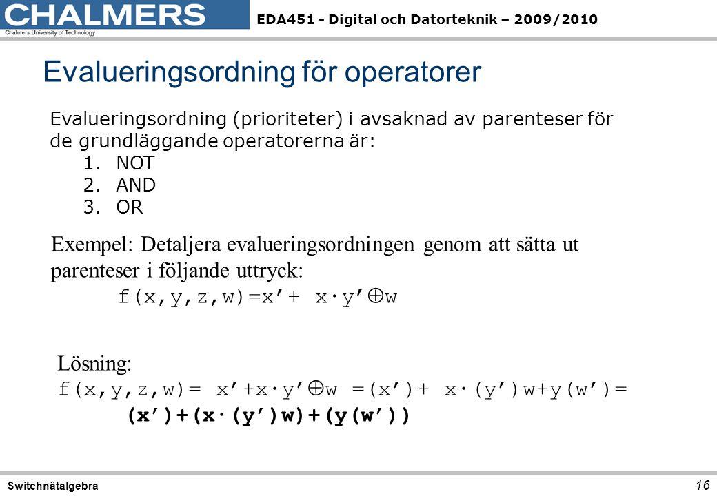EDA451 - Digital och Datorteknik – 2009/2010 Evalueringsordning för operatorer 16 Switchnätalgebra Evalueringsordning (prioriteter) i avsaknad av parenteser för de grundläggande operatorerna är: 1.NOT 2.AND 3.OR Exempel: Detaljera evalueringsordningen genom att sätta ut parenteser i följande uttryck: f(x,y,z,w)=x'+ x∙y'  w Lösning: f(x,y,z,w)= x'+x∙y'  w =(x')+ x∙(y')w+y(w')= (x')+(x∙(y')w)+(y(w'))
