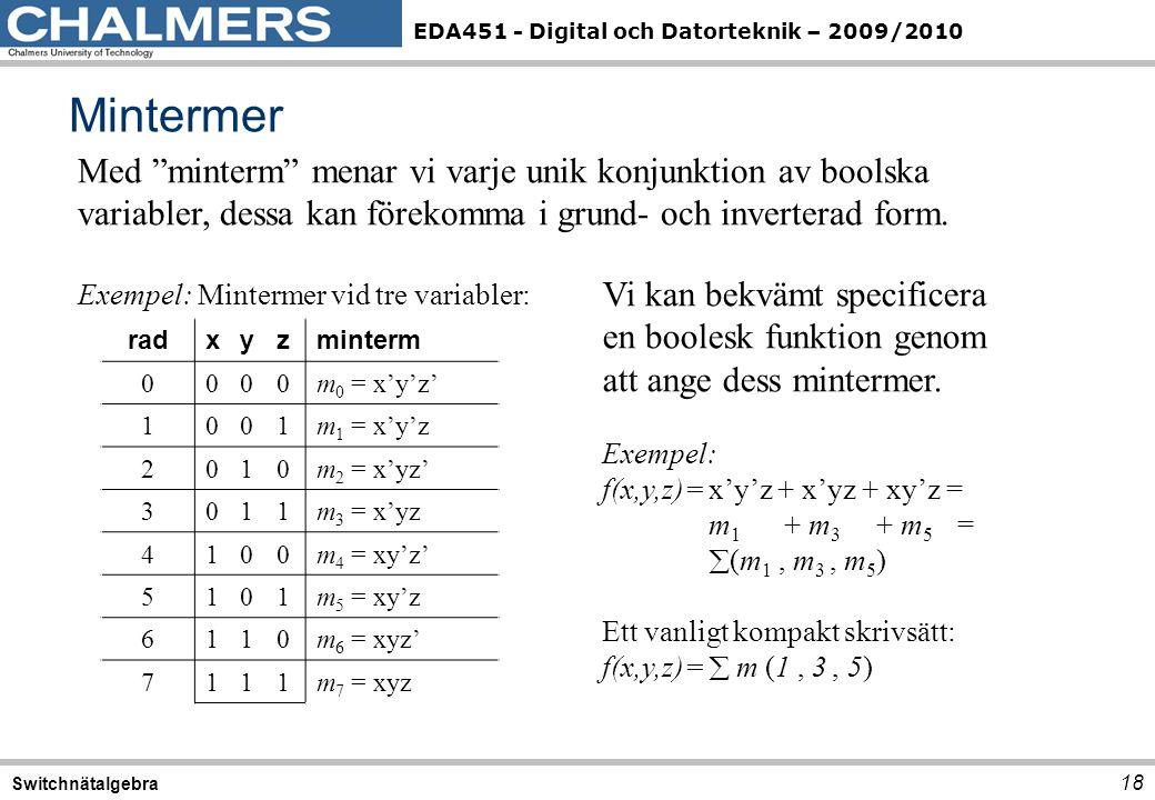EDA451 - Digital och Datorteknik – 2009/2010 Mintermer 18 Switchnätalgebra Med minterm menar vi varje unik konjunktion av boolska variabler, dessa kan förekomma i grund- och inverterad form.