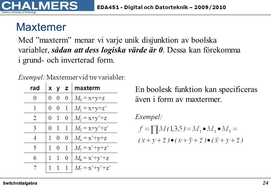 """EDA451 - Digital och Datorteknik – 2009/2010 Maxtemer 24 Switchnätalgebra 24 Switchnätalgebra Med """"maxterm"""" menar vi varje unik disjunktion av boolska"""