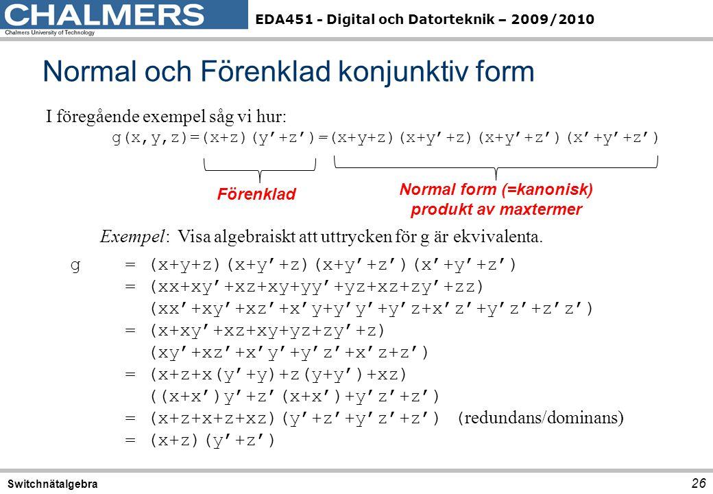EDA451 - Digital och Datorteknik – 2009/2010 Normal och Förenklad konjunktiv form 26 Switchnätalgebra I föregående exempel såg vi hur: g(x,y,z)=(x+z)(y'+z')=(x+y+z)(x+y'+z)(x+y'+z')(x'+y'+z') Exempel: Visa algebraiskt att uttrycken för g är ekvivalenta.