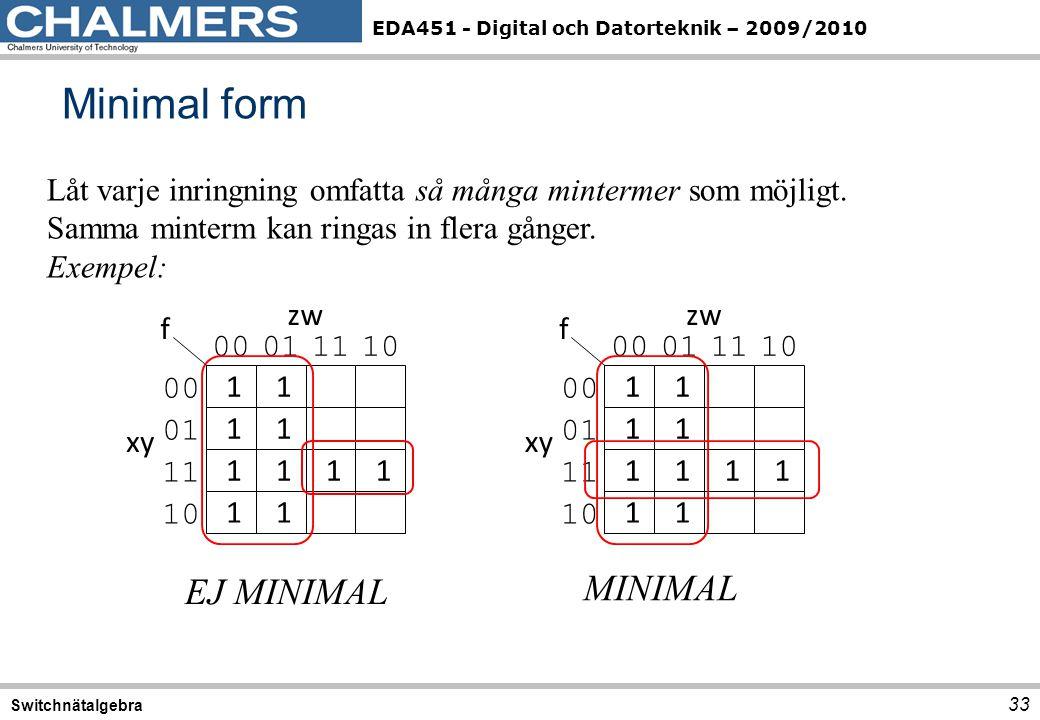 EDA451 - Digital och Datorteknik – 2009/2010 Minimal form 33 Switchnätalgebra Låt varje inringning omfatta så många mintermer som möjligt. Samma minte