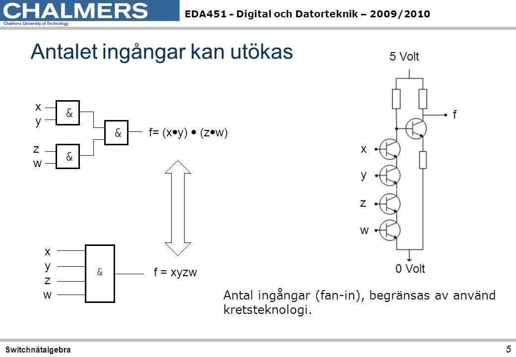EDA451 - Digital och Datorteknik – 2009/2010 Antalet ingångar kan utökas 5 Switchnätalgebra xyxy && zwzw && && f= (x  y)  (z  w) & xyzwxyzw f = xyzw 0 Volt 5 Volt f x y z w Antal ingångar (fan-in), begränsas av använd kretsteknologi.
