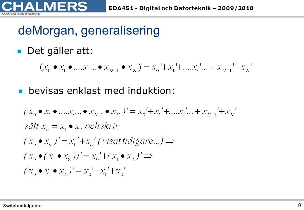 EDA451 - Digital och Datorteknik – 2009/2010 n Det gäller att: deMorgan, generalisering 9 Switchnätalgebra n bevisas enklast med induktion: