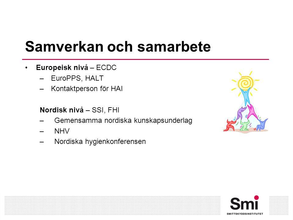 Samverkan och samarbete Nationell nivå – SoS, SVA, SKL, SFVH –Samverkansmöten med SoS –Nationell samverkansgrupp för vårdhygien –Infektionsverktyget –PPM-VRI –PPM-BHK –Rena händer räddar liv –Hygienprojekt med SVA – Hygienpriset – Remisser från olika instanser Regional nivå – vårdhygieniska enheter – Nätverket för vårdhygieniska kontaktpersoner – Hygiensjuksköterskegrupperna – Kommunala nätverket