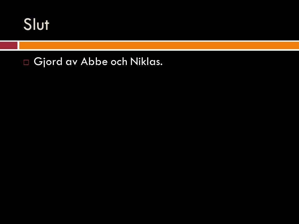 Slut  Gjord av Abbe och Niklas.