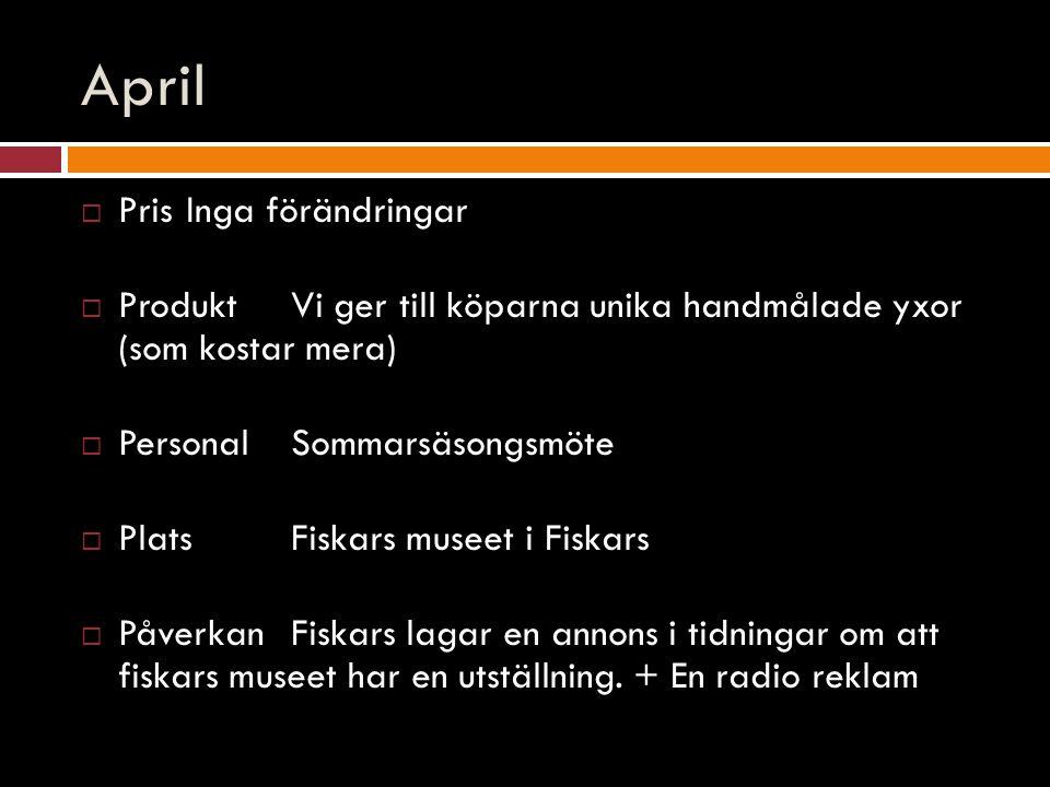 April  PrisInga förändringar  ProduktVi ger till köparna unika handmålade yxor (som kostar mera)  PersonalSommarsäsongsmöte  PlatsFiskars museet i