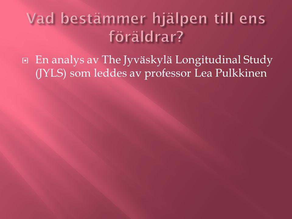  En analys av The Jyväskylä Longitudinal Study (JYLS) som leddes av professor Lea Pulkkinen