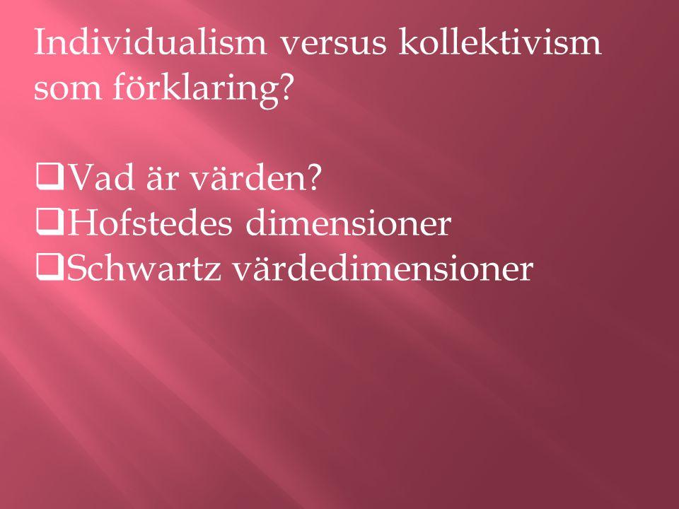 Individualism versus kollektivism som förklaring.  Vad är värden.