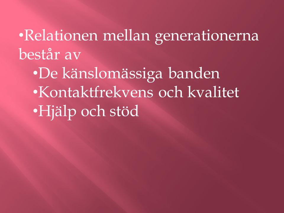 Relationen mellan generationerna består av De känslomässiga banden Kontaktfrekvens och kvalitet Hjälp och stöd