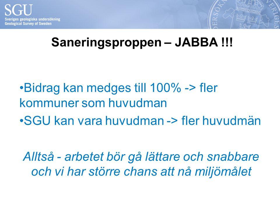 Saneringsproppen – JABBA !!! Bidrag kan medges till 100% -> fler kommuner som huvudman SGU kan vara huvudman -> fler huvudmän Alltså - arbetet bör gå