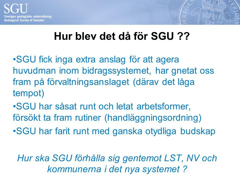 Hur blev det då för SGU ?? SGU fick inga extra anslag för att agera huvudman inom bidragssystemet, har gnetat oss fram på förvaltningsanslaget (därav