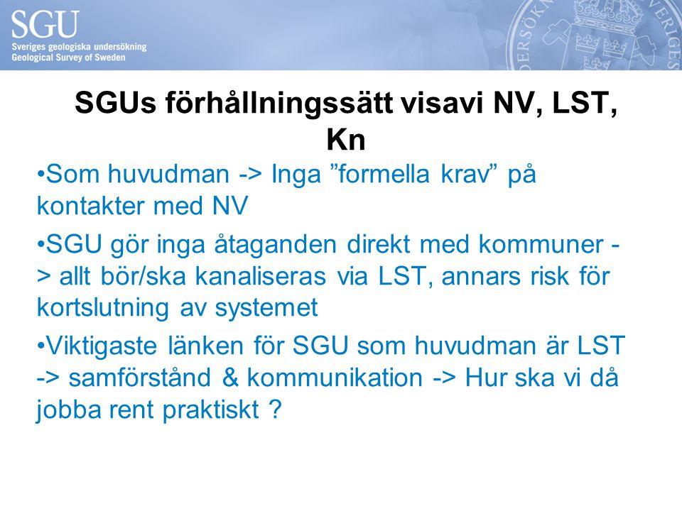 """SGUs förhållningssätt visavi NV, LST, Kn Som huvudman -> Inga """"formella krav"""" på kontakter med NV SGU gör inga åtaganden direkt med kommuner - > allt"""
