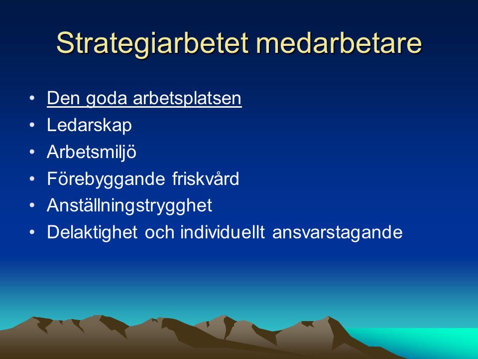 Strategiarbetet medarbetare Den goda arbetsplatsen Ledarskap Arbetsmiljö Förebyggande friskvård Anställningstrygghet Delaktighet och individuellt ansvarstagande
