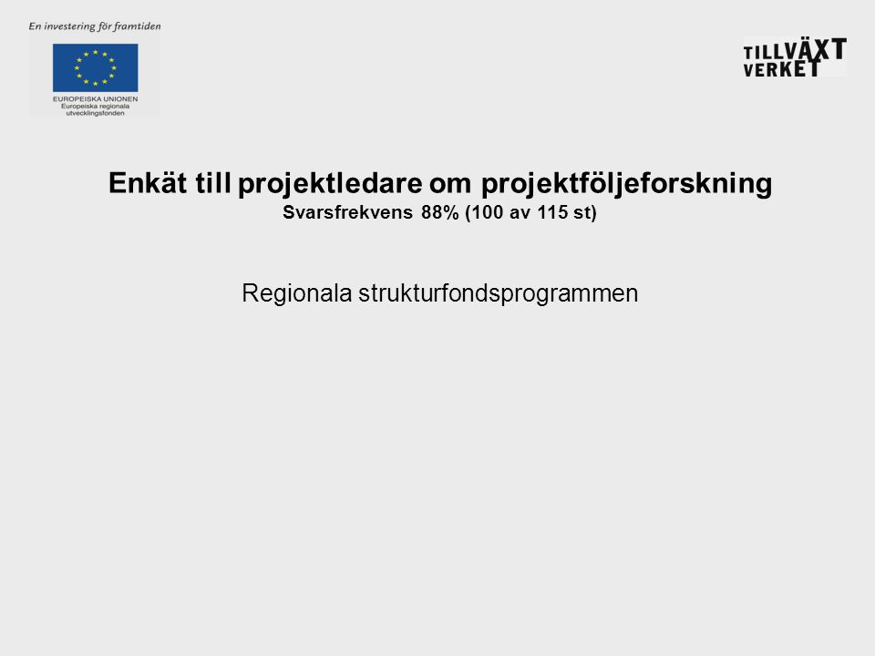 Enkät till projektledare om projektföljeforskning Svarsfrekvens 88% (100 av 115 st) Regionala strukturfondsprogrammen
