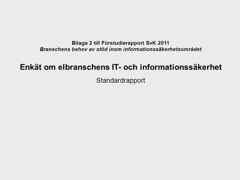 Bilaga 2 till Förstudierapport SvK 2011 Branschens behov av stöd inom informationssäkerhetsområdet Enkät om elbranschens IT- och informationssäkerhet Standardrapport