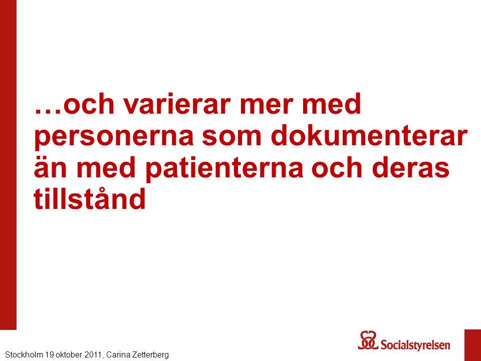 …och varierar mer med personerna som dokumenterar än med patienterna och deras tillstånd Stockholm 19 oktober 2011, Carina Zetterberg