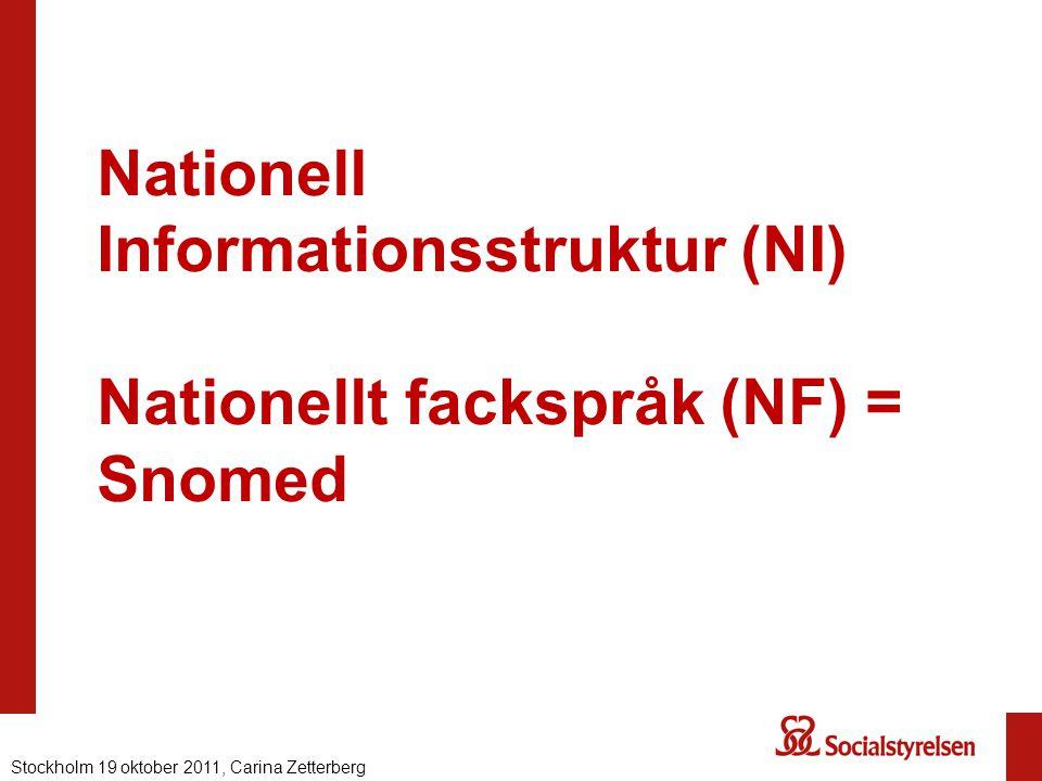 Nationell Informationsstruktur (NI) Nationellt fackspråk (NF) = Snomed Stockholm 19 oktober 2011, Carina Zetterberg