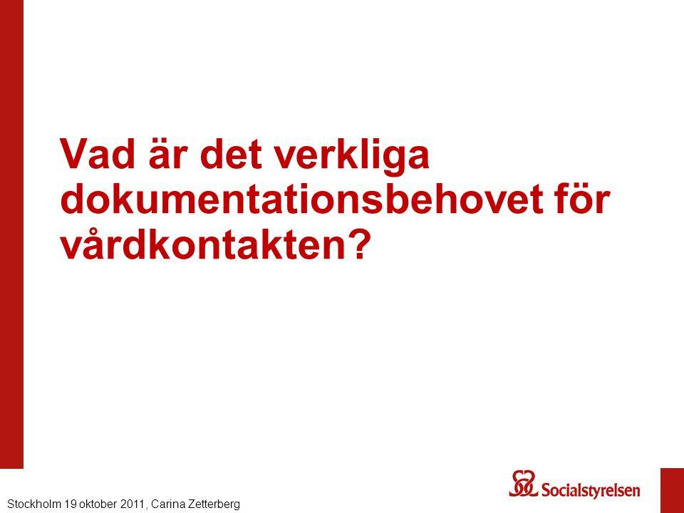 Vad är det verkliga dokumentationsbehovet för vårdkontakten? Nationell eHälsa 2012, Carina ZetterbergStockholm 19 oktober 2011, Carina Zetterberg