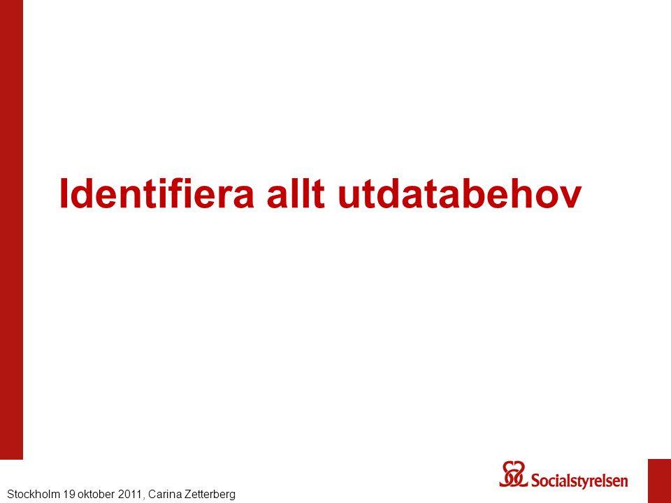 Identifiera allt utdatabehov Nationell eHälsa 2012, Carina ZetterbergStockholm 19 oktober 2011, Carina Zetterberg