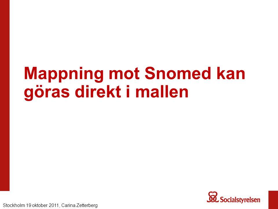 Mappning mot Snomed kan göras direkt i mallen Nationell eHälsa 2012, Carina ZetterbergStockholm 19 oktober 2011, Carina Zetterberg