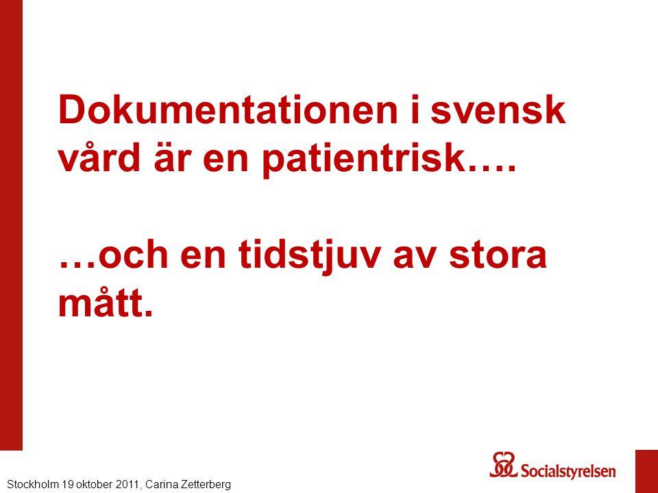 Dokumentationen i svensk vård är en patientrisk…. …och en tidstjuv av stora mått. Stockholm 19 oktober 2011, Carina Zetterberg