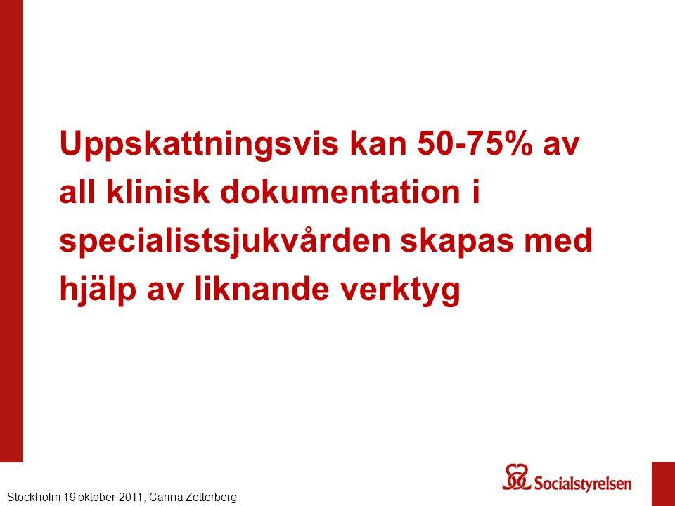 Uppskattningsvis kan 50-75% av all klinisk dokumentation i specialistsjukvården skapas med hjälp av liknande verktyg Nationell eHälsa 2012, Carina Zet