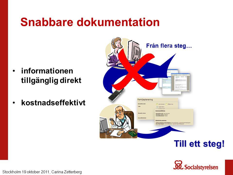 Snabbare dokumentation informationen tillgänglig direkt kostnadseffektivt Från steg… Från flera steg… Till ett steg! Nationell eHälsa 2012, Carina Zet