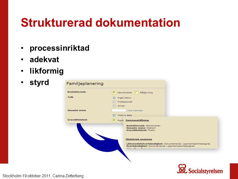 Strukturerad dokumentation processinriktad adekvat likformig styrd Nationell eHälsa 2012, Carina ZetterbergStockholm 19 oktober 2011, Carina Zetterber