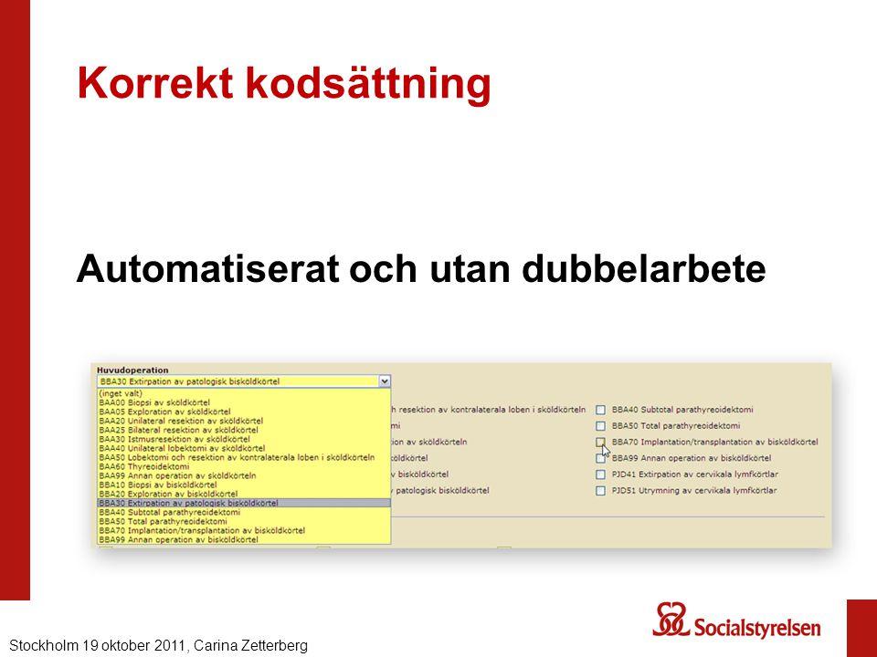 Korrekt kodsättning Automatiserat och utan dubbelarbete Nationell eHälsa 2012, Carina ZetterbergStockholm 19 oktober 2011, Carina Zetterberg