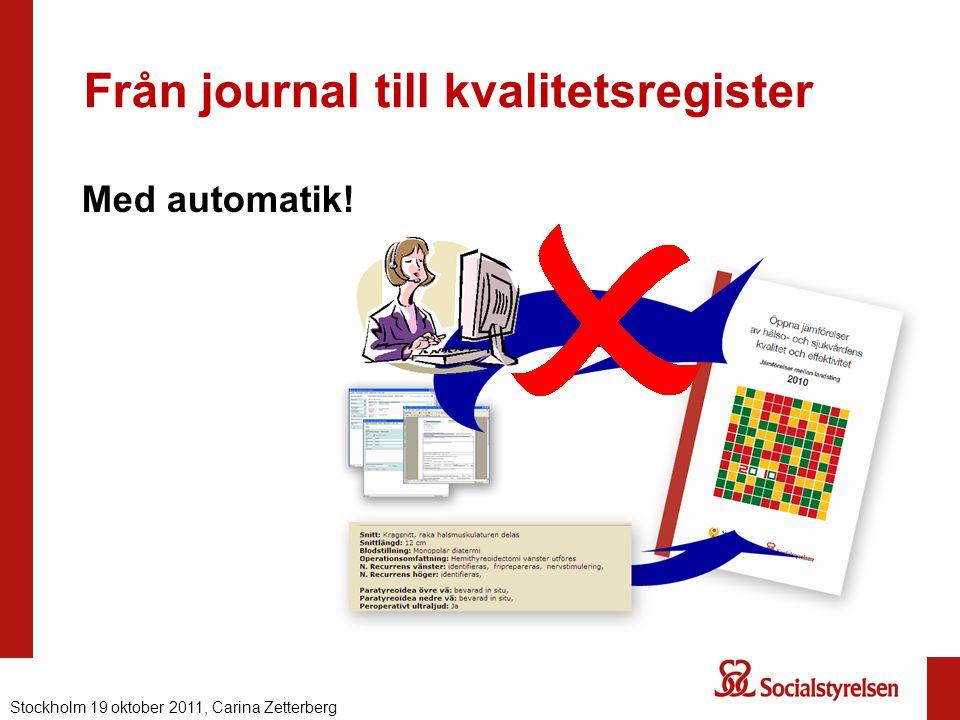 Från journal till kvalitetsregister Med automatik! Nationell eHälsa 2012, Carina ZetterbergStockholm 19 oktober 2011, Carina Zetterberg