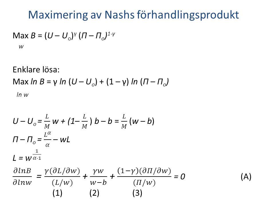Maximering av Nashs förhandlingsprodukt
