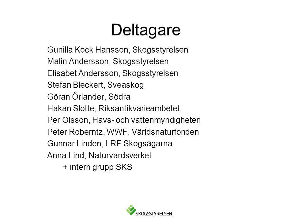 Deltagare Gunilla Kock Hansson, Skogsstyrelsen Malin Andersson, Skogsstyrelsen Elisabet Andersson, Skogsstyrelsen Stefan Bleckert, Sveaskog Göran Örla