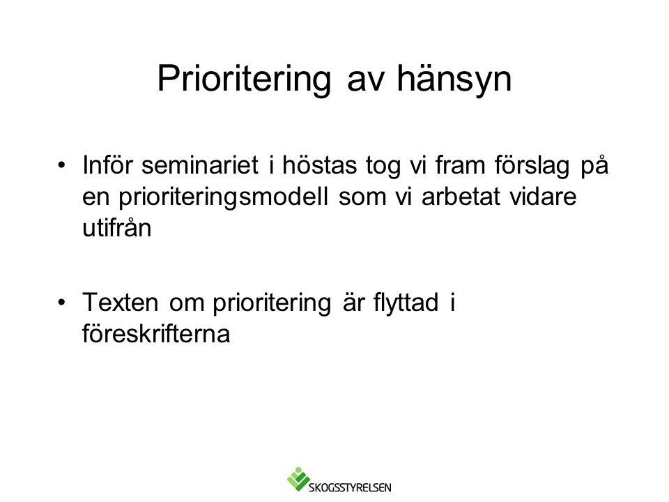 Prioritering av hänsyn Inför seminariet i höstas tog vi fram förslag på en prioriteringsmodell som vi arbetat vidare utifrån Texten om prioritering är