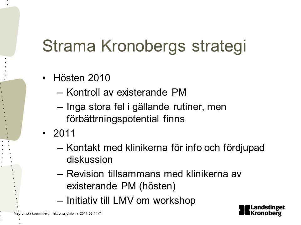 Medicinska kommittén, infektionssjukdomar 2011-06-14 /7 Strama Kronobergs strategi Hösten 2010 –Kontroll av existerande PM –Inga stora fel i gällande