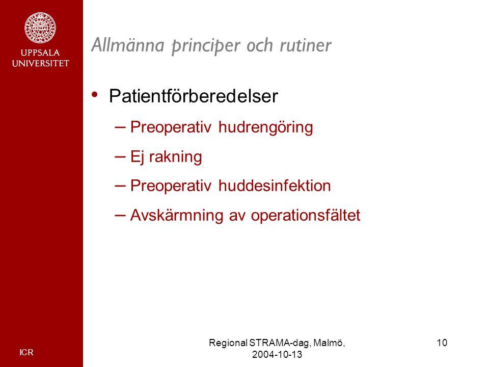 ICR 10Regional STRAMA-dag, Malmö, 2004-10-13 Allmänna principer och rutiner Patientförberedelser – Preoperativ hudrengöring – Ej rakning – Preoperativ