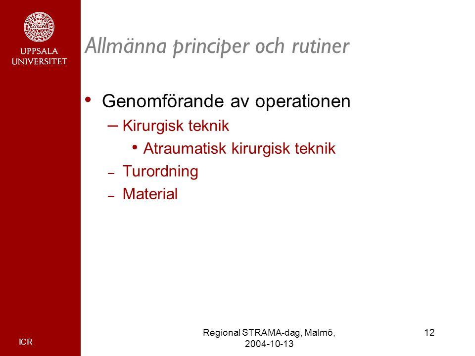 ICR 12Regional STRAMA-dag, Malmö, 2004-10-13 Allmänna principer och rutiner Genomförande av operationen – Kirurgisk teknik Atraumatisk kirurgisk tekni