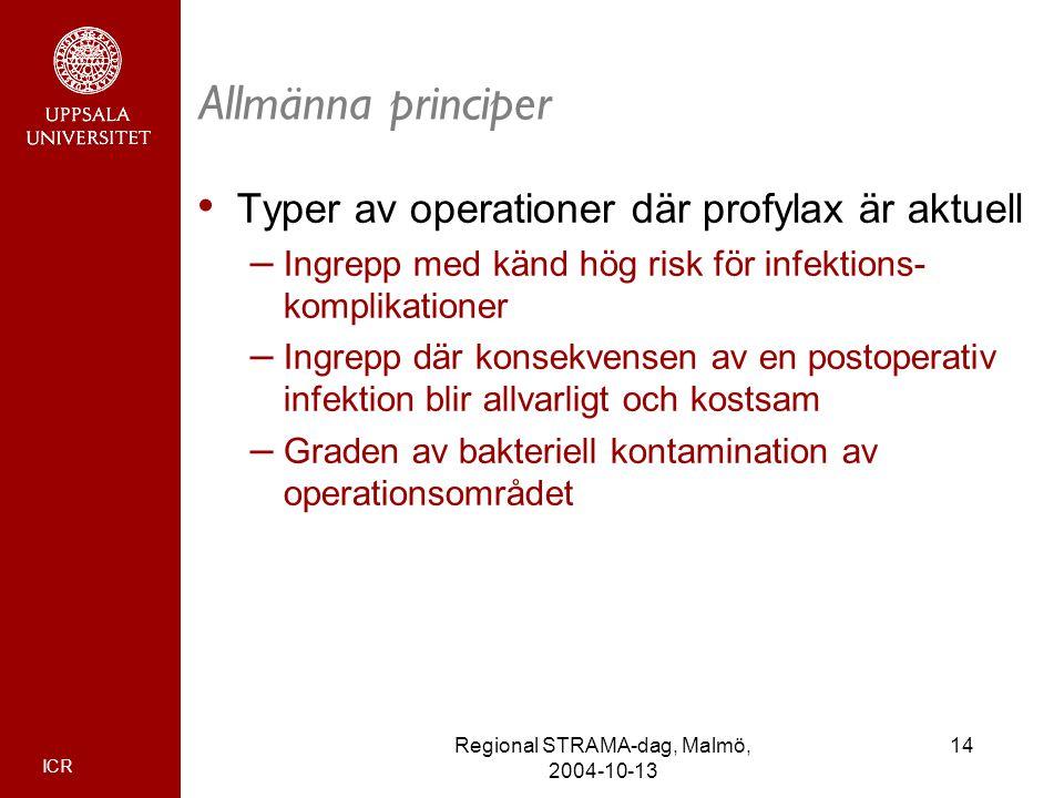 ICR 14Regional STRAMA-dag, Malmö, 2004-10-13 Allmänna principer Typer av operationer där profylax är aktuell – Ingrepp med känd hög risk för infektion